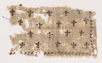 Textile fragment with fleurs-de-lys