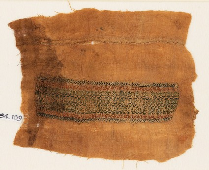 Textile fragment with bands of scrolls, inscription, and chevrons