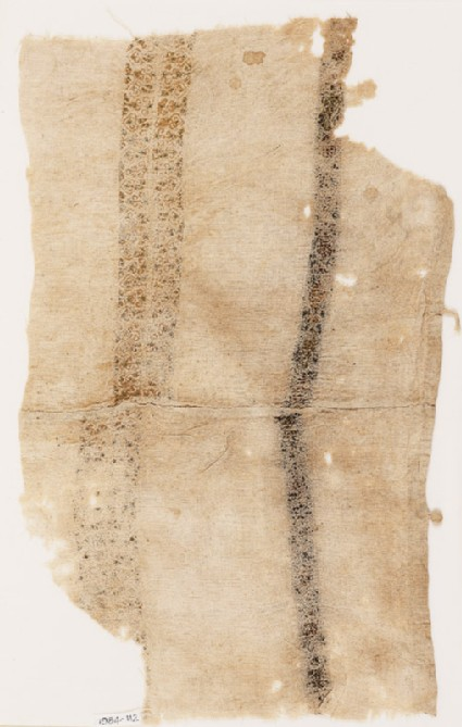 Textile fragment with bands of leaves and spiral trees