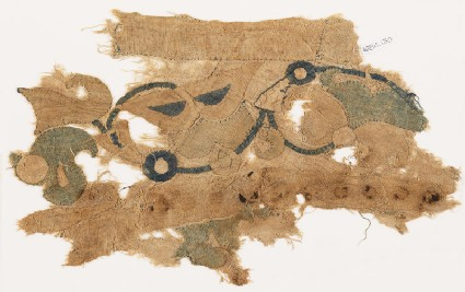 Textile fragment with tendril, leaves, and flowers