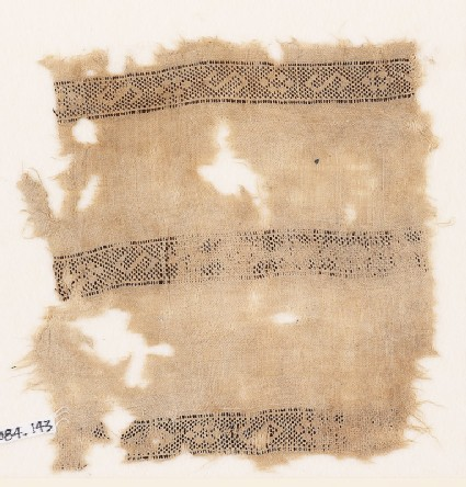 Textile fragment with bands of S-shapes and squares