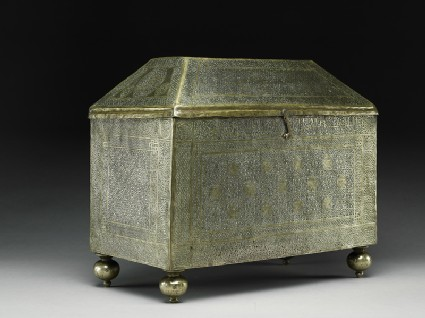 Box with calligraphy and geometric and heraldic patterns