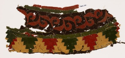 Textile fragment with leaves and crenellations