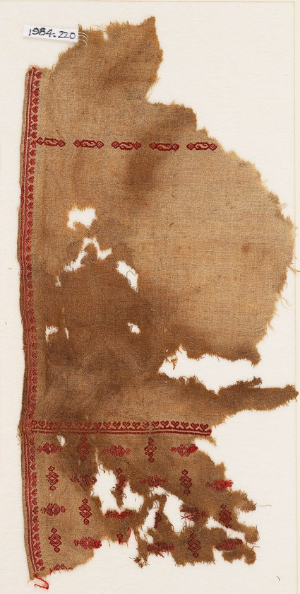 Textile fragment from a tunic with heart-shaped flowers