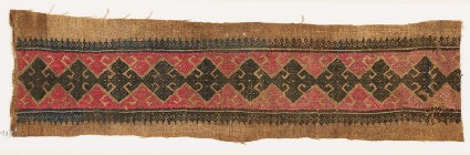 Textile fragment with diamond-shapes, triangles, and floral shapes