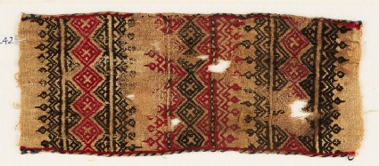 Textile fragment with bands of linked squares, crosses, triangles, and leaves