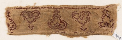 Textile fragment with leaves and palmettes, possibly from trousers or a collar