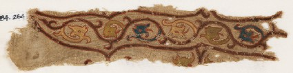 Textile fragment with tendrils and dragon heads