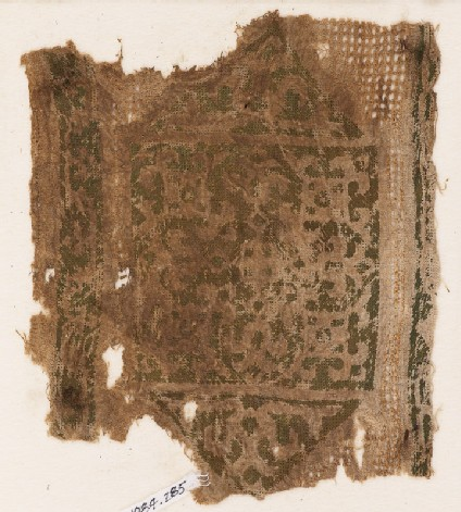 Textile fragment with cartouche, trefoils, and leaves