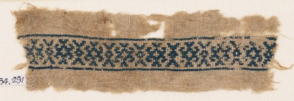 Textile fragment with X-shapes and hooks