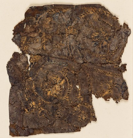 Textile fragment with trefoil scroll