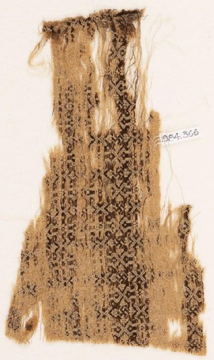 Textile fragment with interlocking diamonds and swastikas