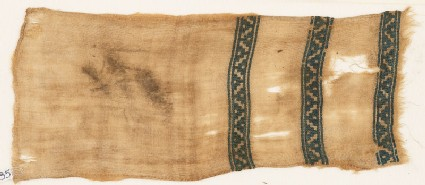 Textile fragment with bands of dots and diagonal lines