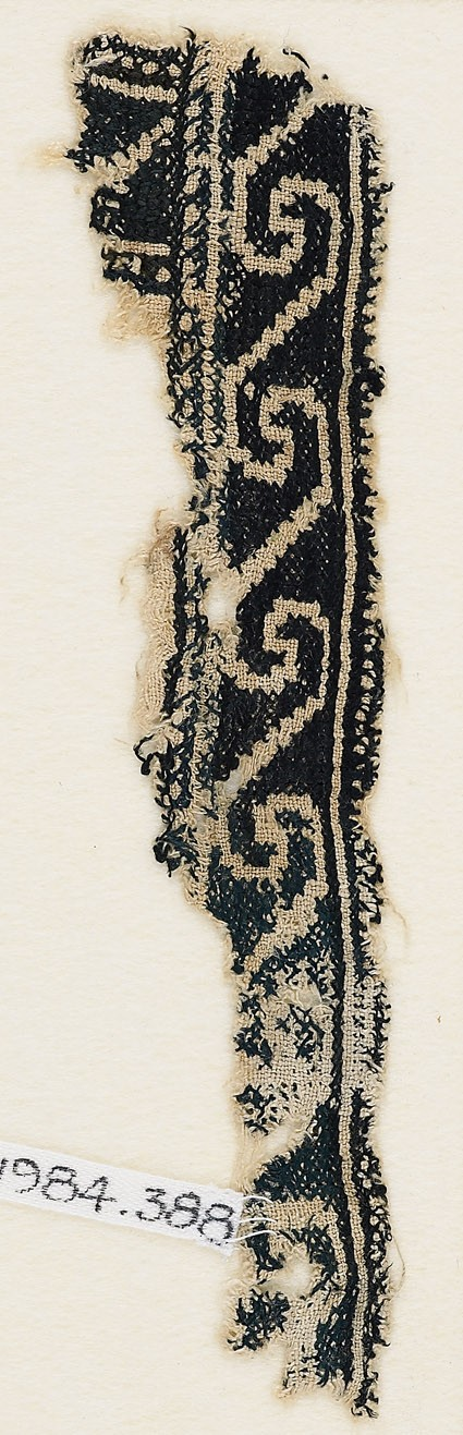 Textile fragment with scrolls