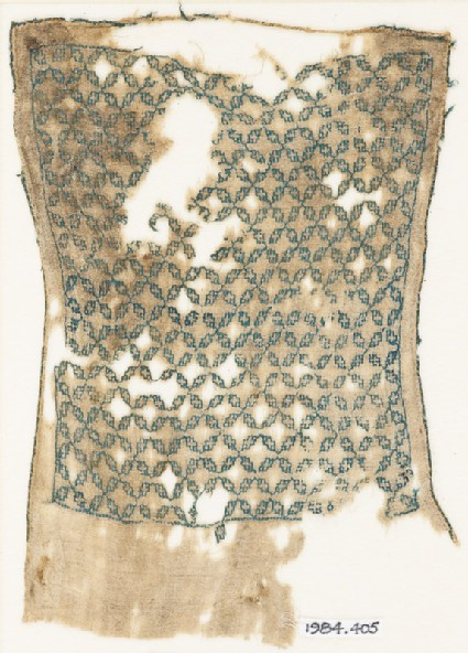 Textile fragment with linked quatrefoils, possibly from a sash or turban cloth
