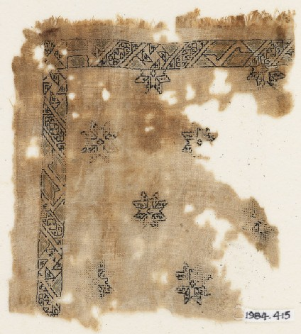 Textile fragment with eight-pointed stars