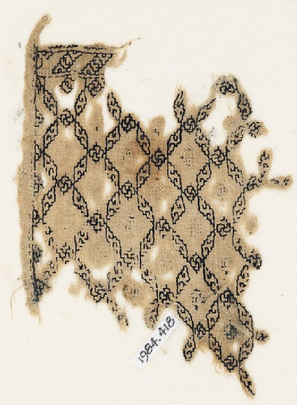 Textile fragment with grid of lozenges