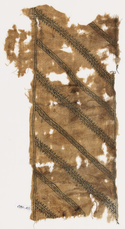 Textile fragment with stripes of vines and leaves