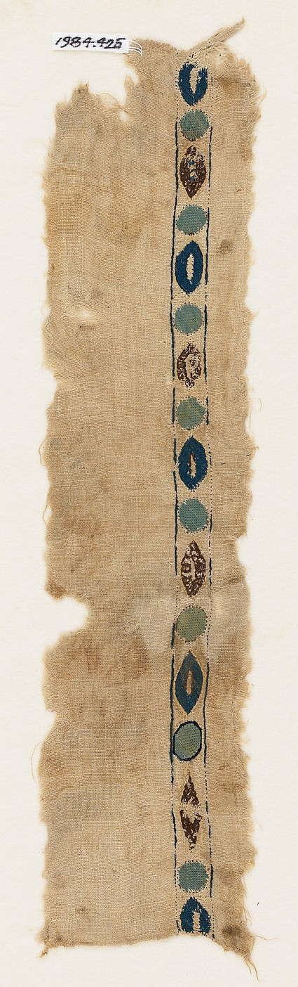Textile fragment with circles and ovals