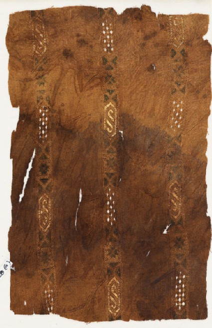 Textile fragment with three bands of cartouches