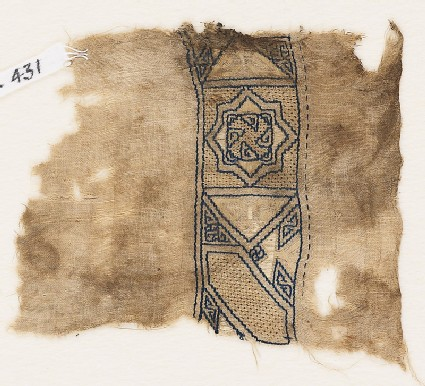 Textile fragment with square containing an eight-pointed star