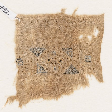 Textile fragment with band framed by triangles