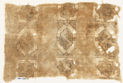 Textile fragment with three bands of stars and hexagons