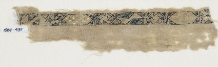 Textile fragment with band of cartouches, spirals, and stars