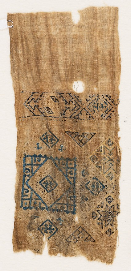 Textile fragment with squares and triangles
