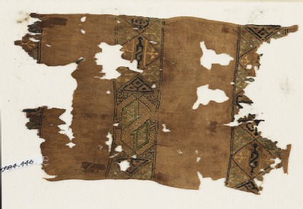 Textile fragment with squares and hexagons