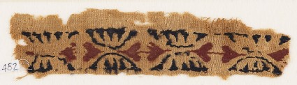 Textile fragment with paired hearts