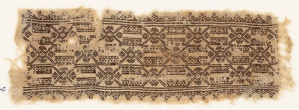 Textile fragment with hexagons linked by hooks