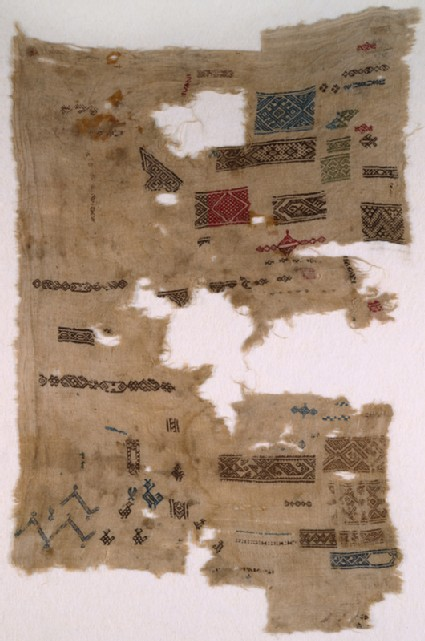 Sampler fragment with chevrons, birds, and fish