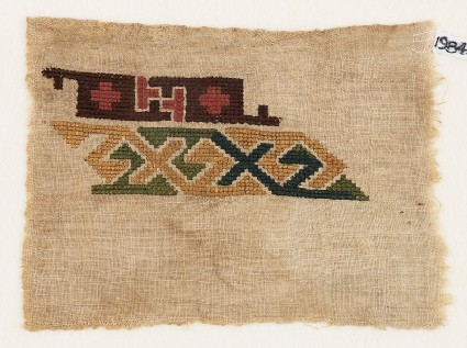 Sampler fragment with hooks and crosses