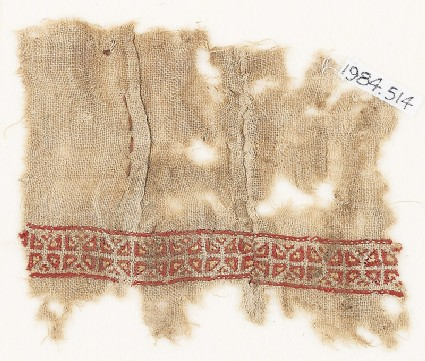 Textile fragment with two rows of triangles