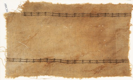 Textile fragment with two parallel bands of circles and S-shapes
