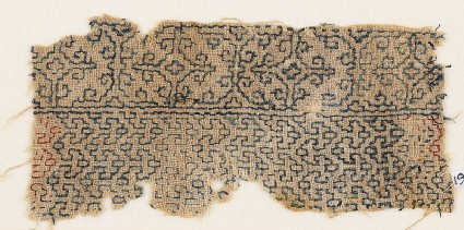 Textile fragment with interlacing chevrons and Maltese crosses