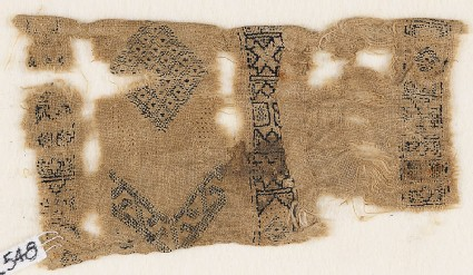 Textile fragment with three parallel bands containing stars and hexagons