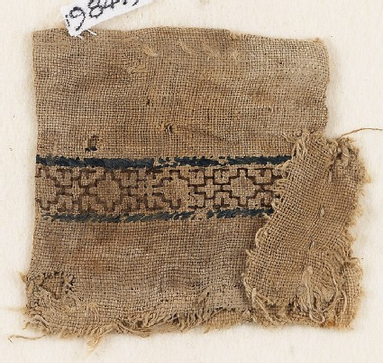 Textile fragment with stepped diamond-shapes, possibly from a money pouch