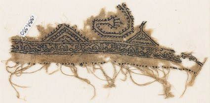 Textile fragment with two half diamond-shapes