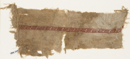 Textile fragment with band of diagonal lines and tendrils
