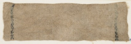 Textile fragment from a garment with two bands containing vines
