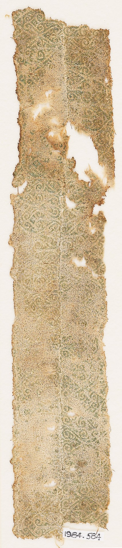 Textile fragment with interlacing spirals and hearts