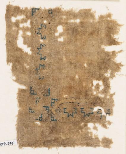 Textile fragment with hexagonal cartouches