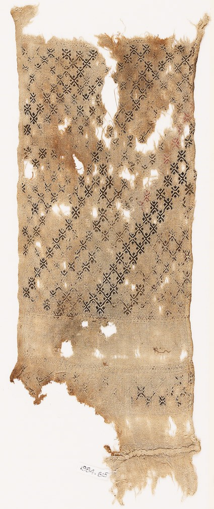 Textile fragment with interlinking crosses