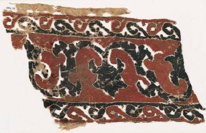 Textile fragment with vine, tendrils, and trefoils