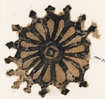 Textile fragment with rosette and trefoil finials
