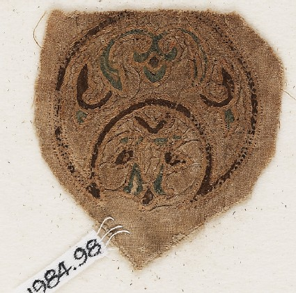 Roundel textile fragment with blazon