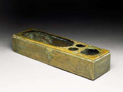 Brass pen box with inscription