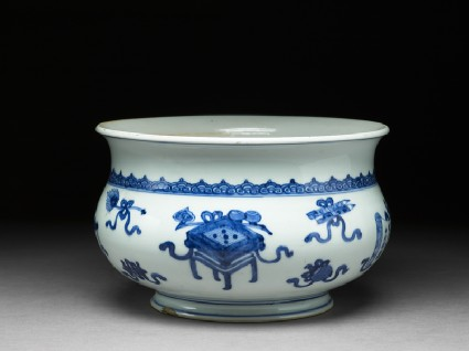 Blue-and-white jardiniere in the form of an incense bowl